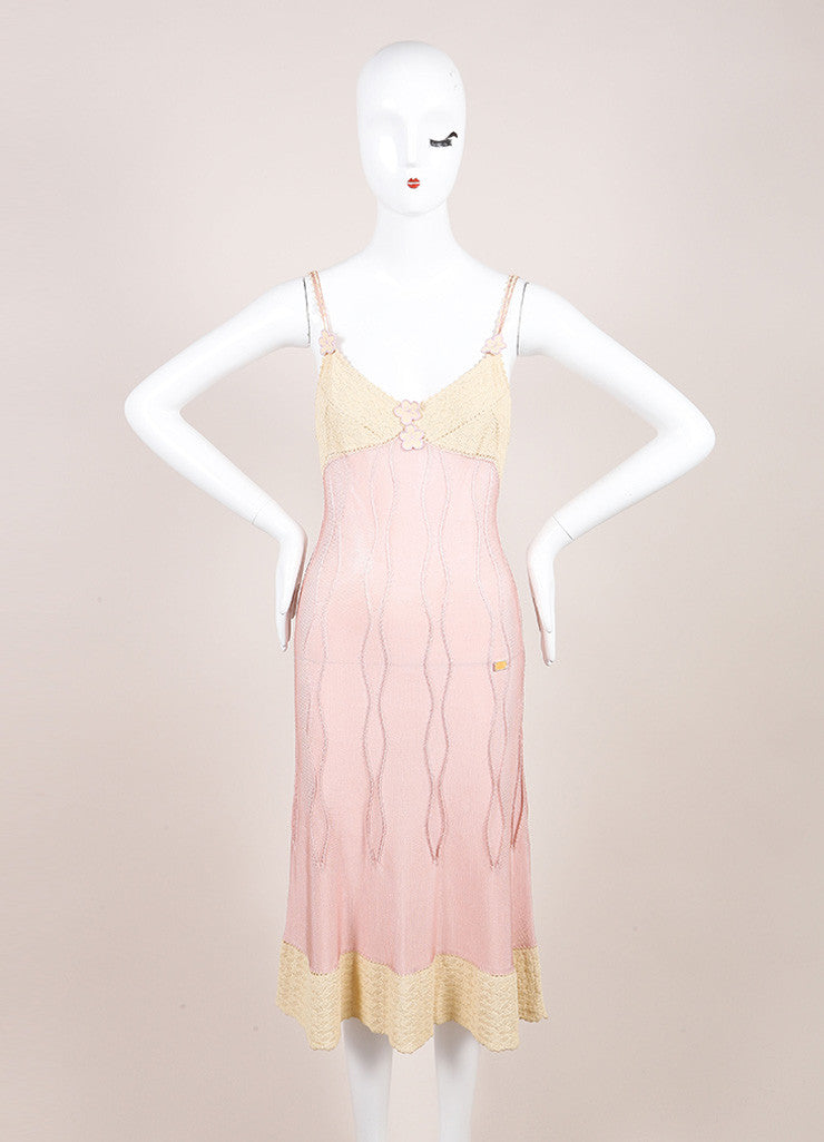 Chanel Cream and Pink Crochet Knit Floral Applique Double Strap Slip Dress Frontview
