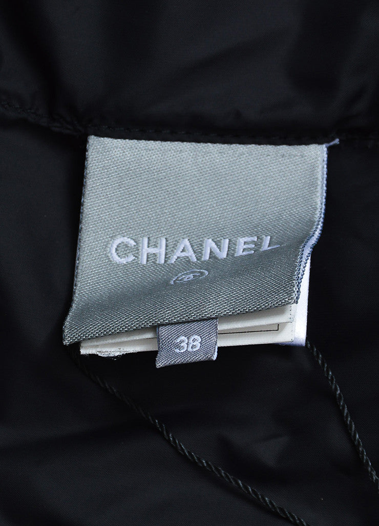 Navy and White Chanel Printed Down Puffer Vest Brand