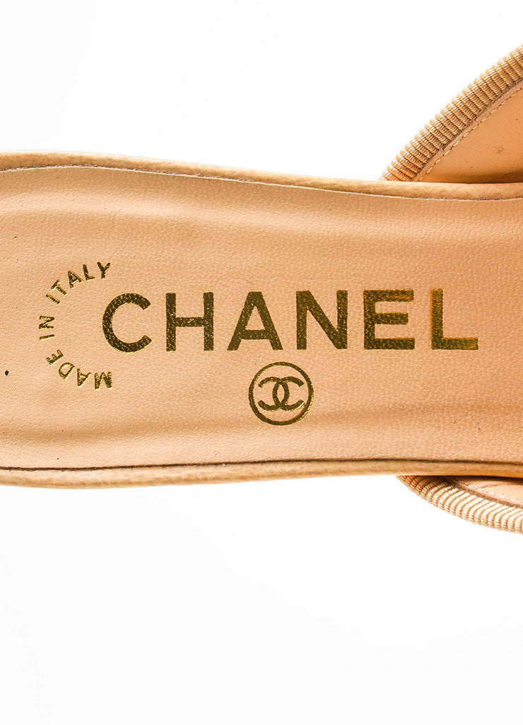 Chanel Beige and Black Patent Leather Cap Toe Bow Detail Mules Brand