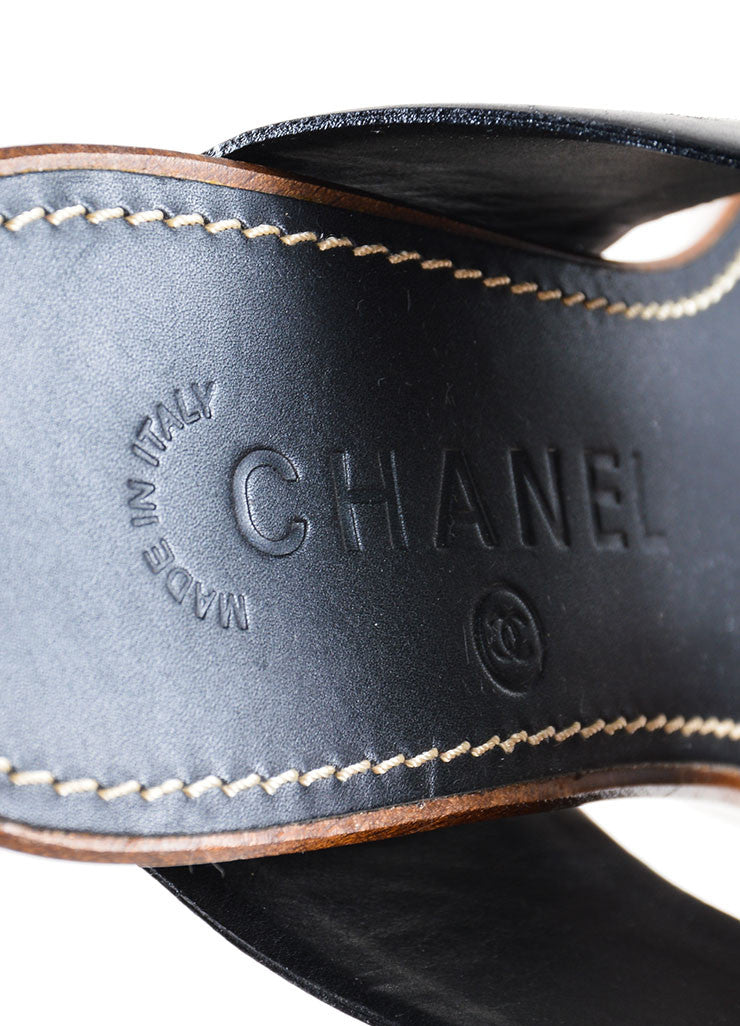 Black and Brown Chanel Leather and Wood Clog Mule Heeled Sandals Brand