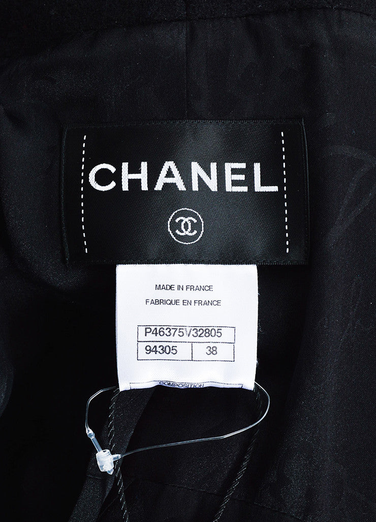 Chanel Black and Gunmetal Grey Wool and Silk Lion Buttoned Military Coat Brand
