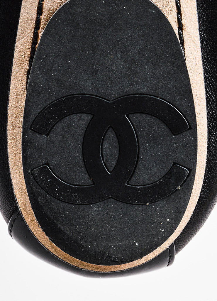 Chanel Black Leather Cap Toe Elastic Ballet Flats Brand