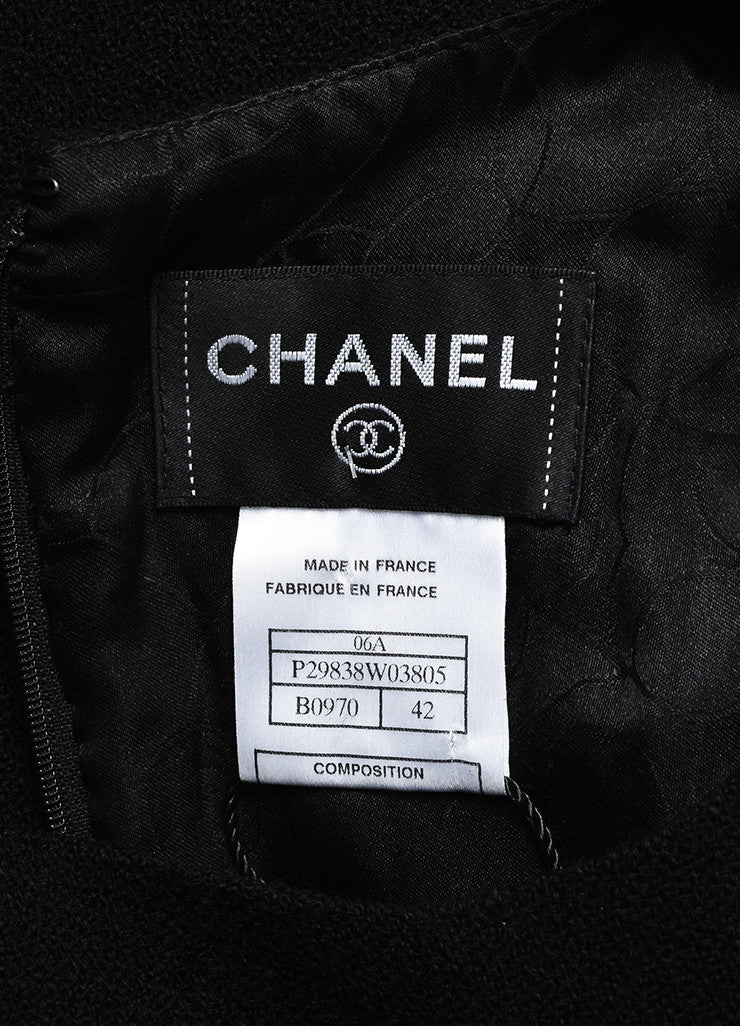 Black Chanel Wool Sleeveless Pave Crystal 'X' Button Dress Brand