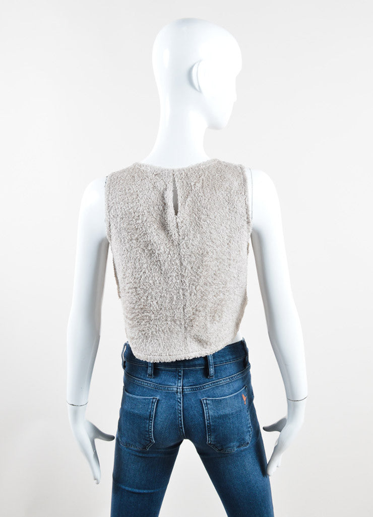 Chanel Taupe Terry Chenille Side Button Sleeveless Crop Top Backview