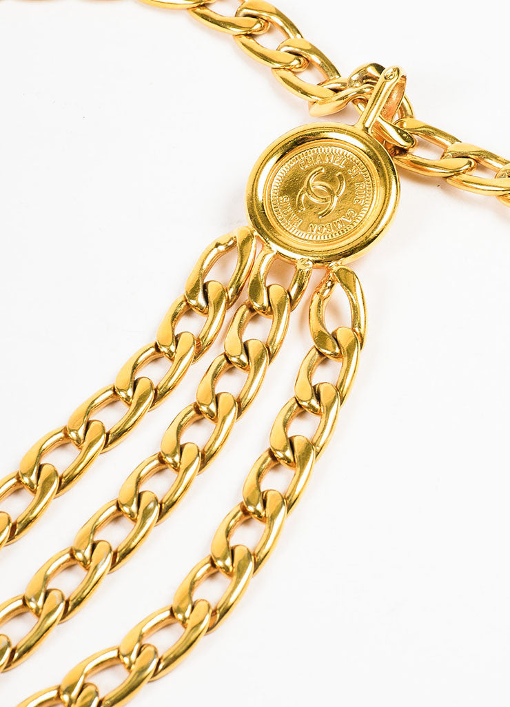 Chanel Gold Toned Triple Strand Chain Link 'CC' Coin Medallion Belt Detail