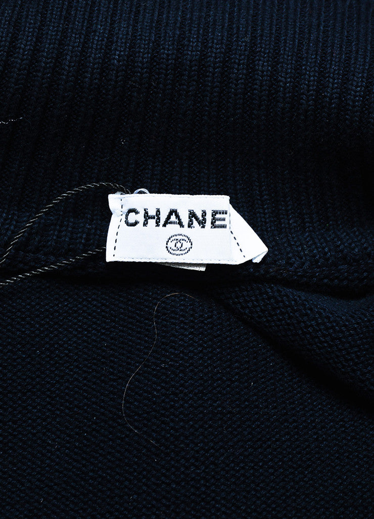 Chanel Navy Blue and Gold Toned Cotton Rib Knit Pocket Half Sleeve Sweater Brand