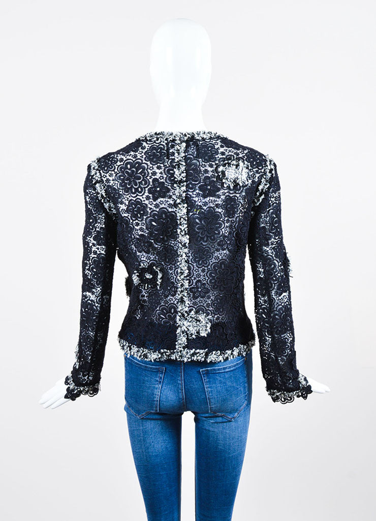 Navy Blue and White Chanel Sheer Embroidered Floral Lace Open Front Jacket Backview