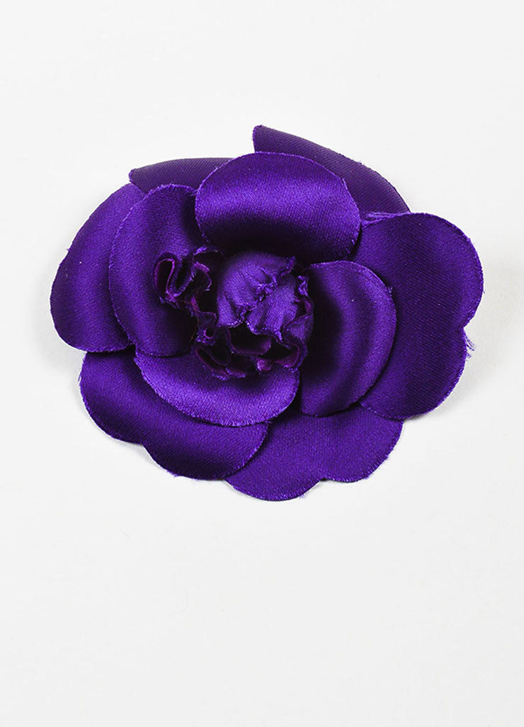 Chanel Purple Silk Camellia Flower Brooch Pin Frontview