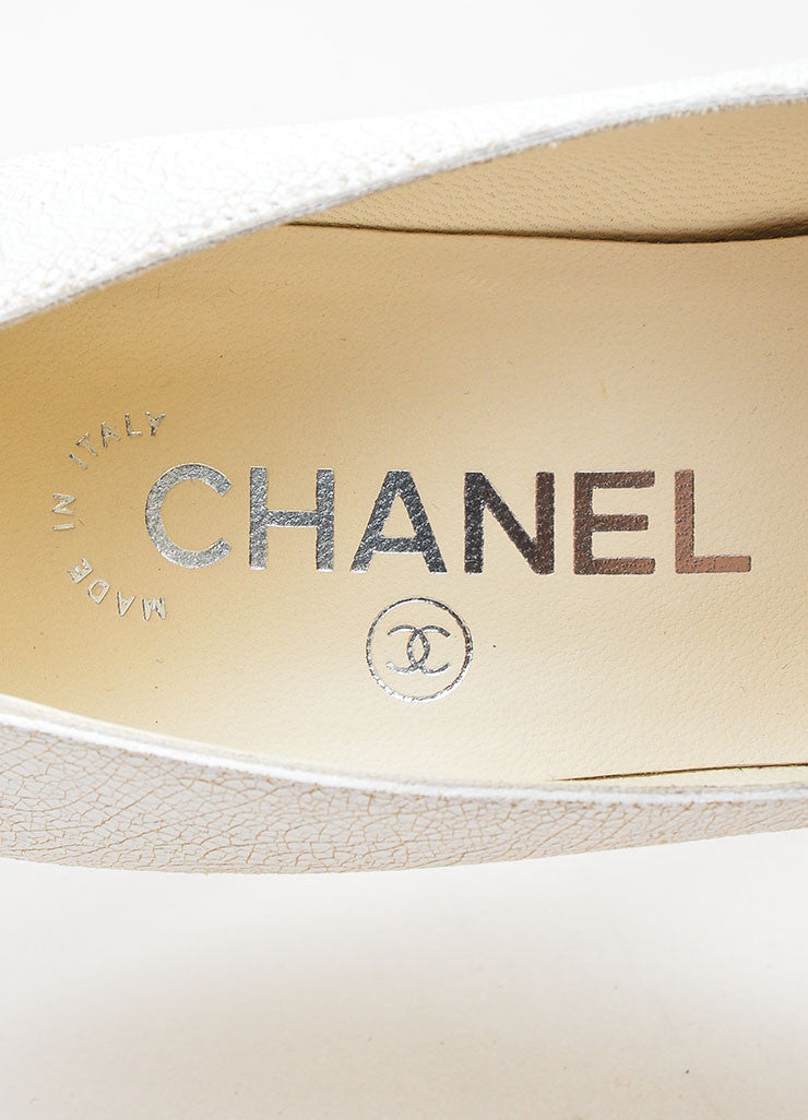 White Chanel Crackle Leather Pointed Cap Toe High Heel Pumps Brand