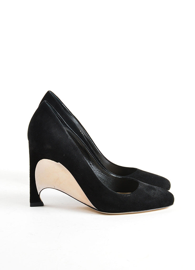 Christian Dior Black Suede Leather Optique Mirror Heel Pumps Sideview