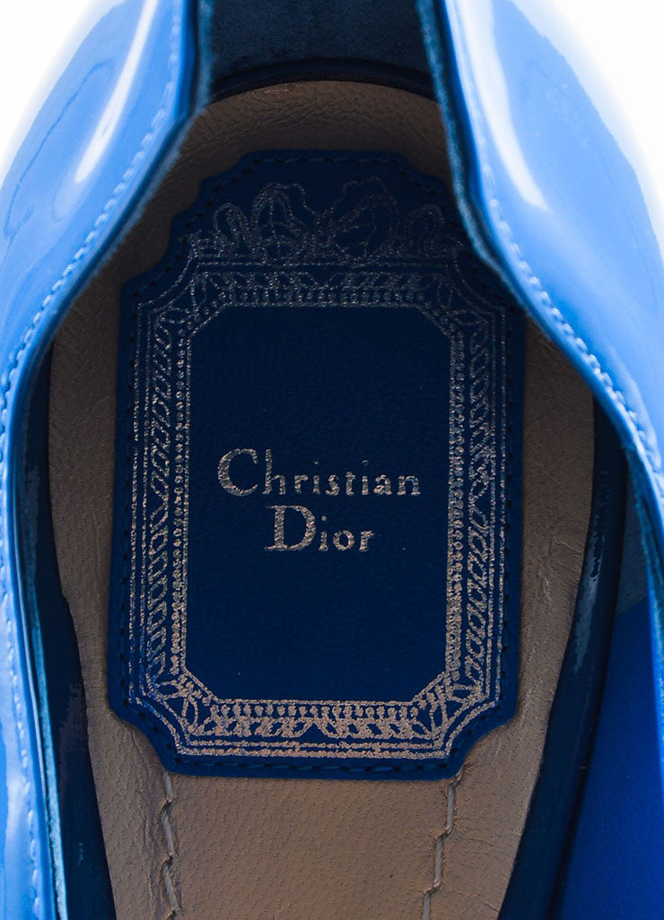 "Blue Christian Dior Patent Leather Wavy ""Silhouette"" Pumps Brand"