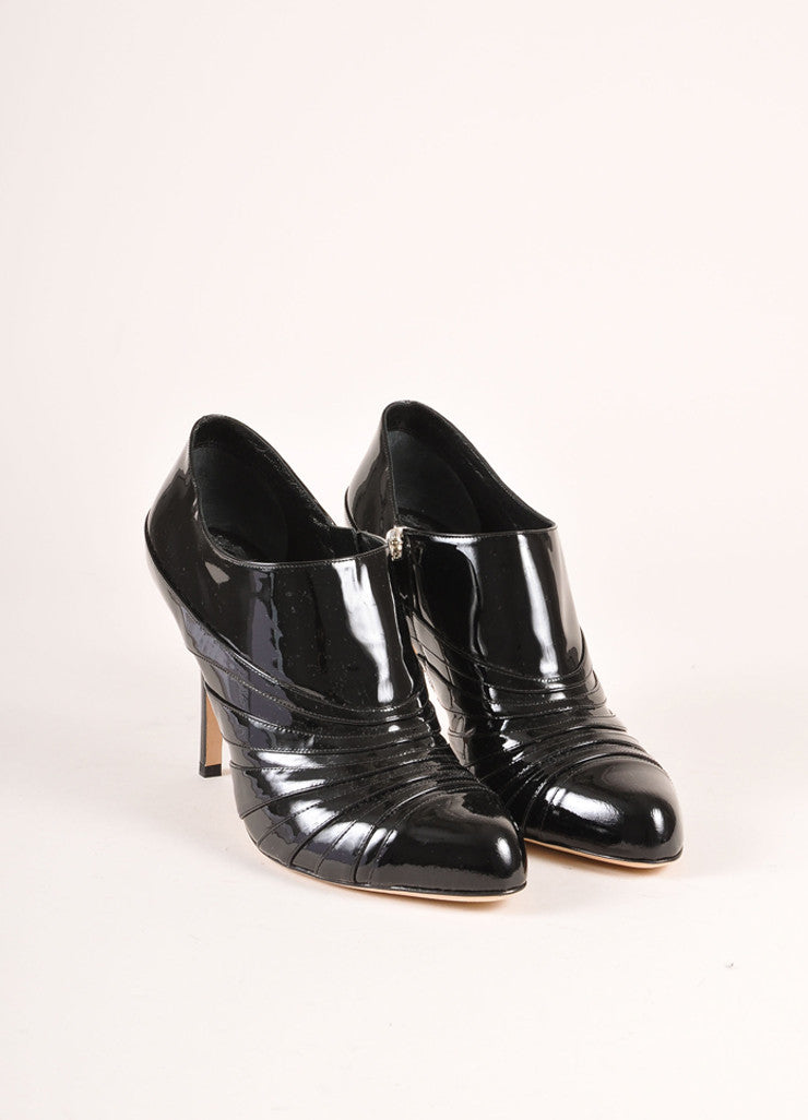 Christian Dior New In Box Black Patent Leather Heeled Booties Frontview