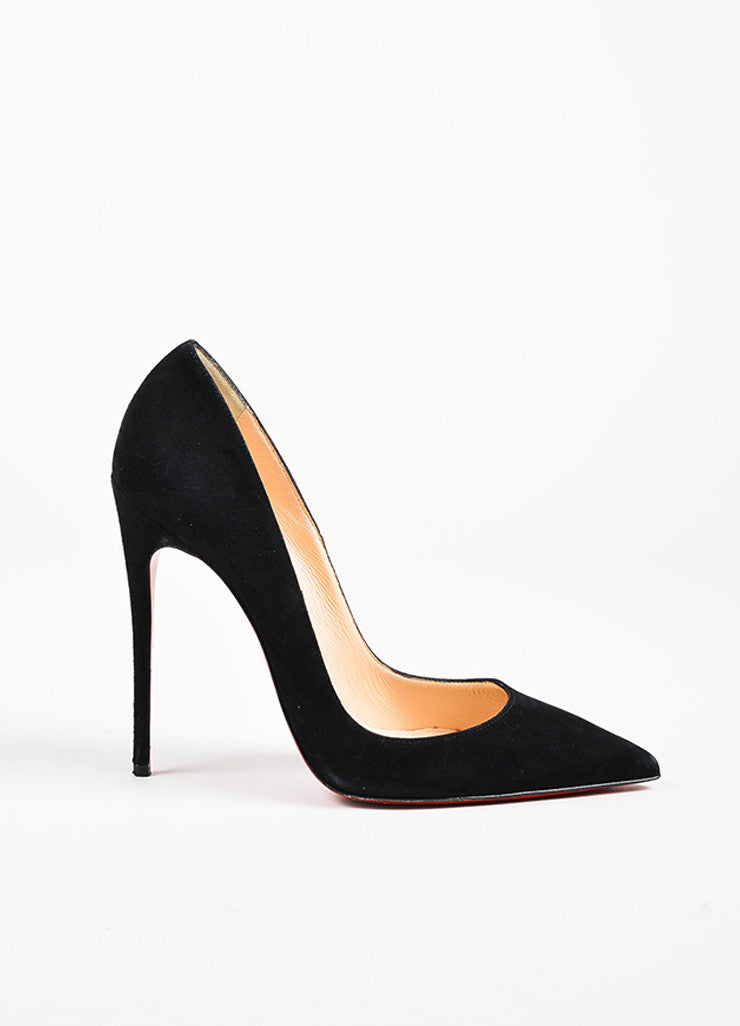 "Christian Louboutin Black Suede Pointed Toe Stiletto ""So Kate"" Pumps Sideview"
