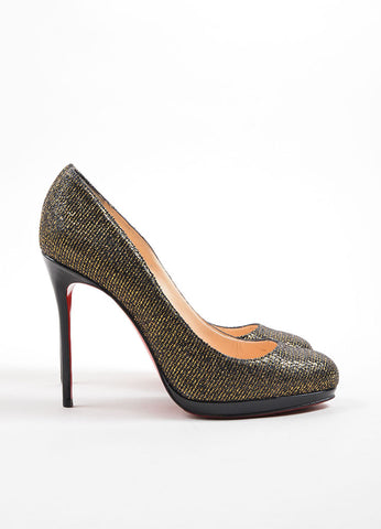 "Christian Louboutin Black and Gold Glitter ""Filo 120 Lady"" Pumps Sideview"