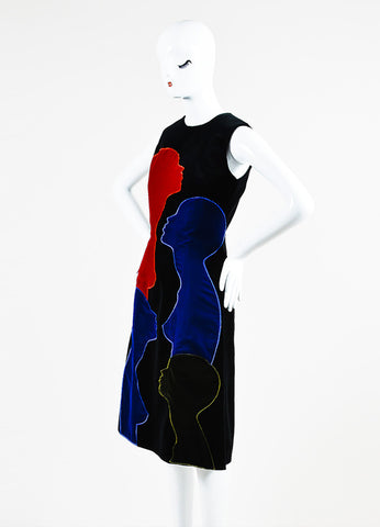Christopher Kane Black, Red, and Blue Cotton Velvet Sleeveless Shift Dress Sideview