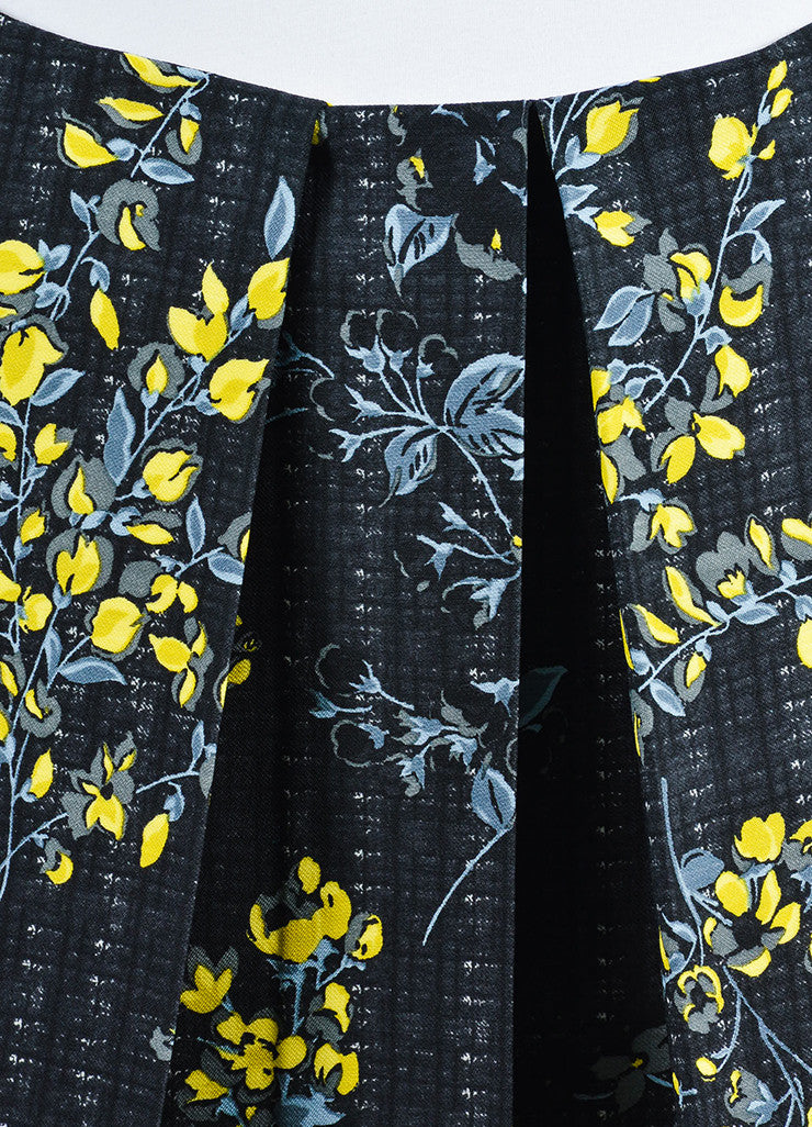 Black, Yellow, and Grey Marni Floral Print Pleated A-Line Skirt Detail