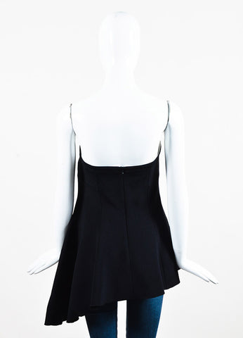 Derek Lam Black Wool and Silk Strapless Asymmetrical Bustier Top Backview