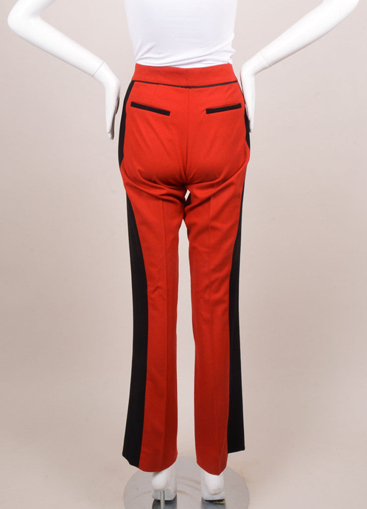 Derek Lam Red and Black Wool Trousers Backview