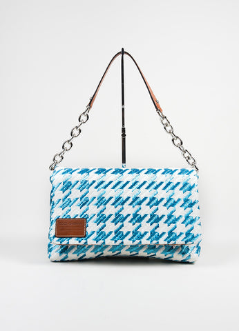 "Blue and White Dolce & Gabbana Raffia Houndstooth ""Miss Escape"" Shoulder Bag Frontview"