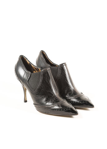 Dolce & Gabbana Black Cracked Leather Patent Trim Wing Tip Ankle Booties Frontview
