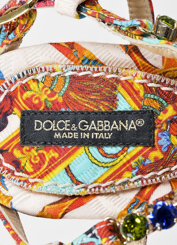 Dolce & Gabbana Multicolor Silk Print Jeweled Strappy Sandals Brand