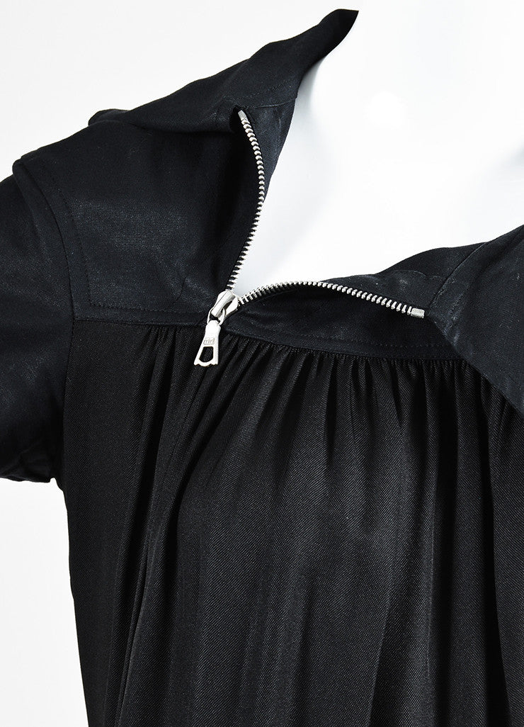 Dries Van Noten Black Pleated Short Sleeve Sack Dress Detail