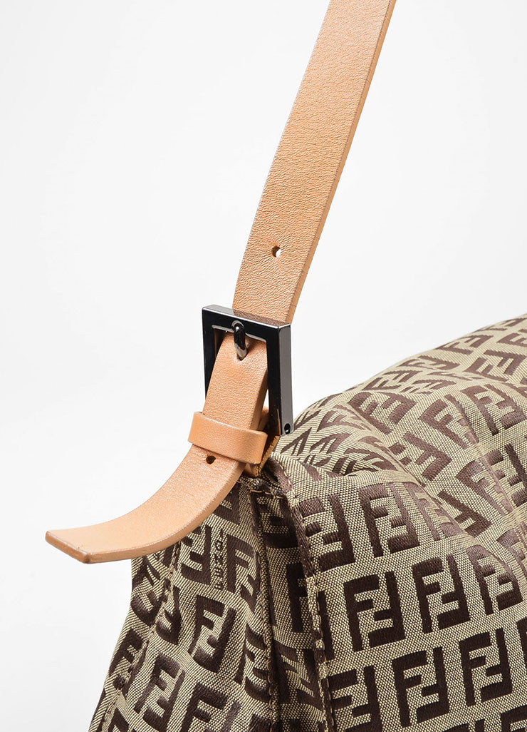 "Brown Fendi 'FF' Monogram Canvas ""Zucchino Mama Forever"" Shoulder Bag Detail 2"