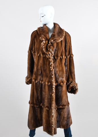Brown ¥éËFurs By Guarino Fur Fringe Trimmed Long Coat Frontview 2
