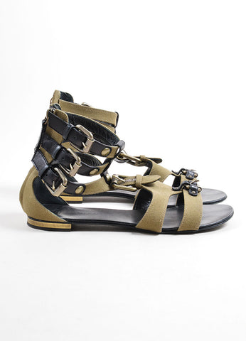Giuseppe Zanotti for Balmain Green Canvas and Black Leather Buckle Sandals Sideview