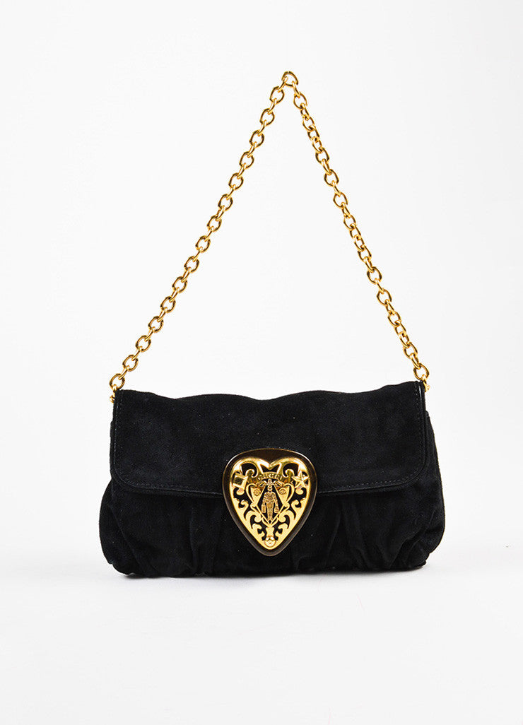 "Gucci Black and Gold Toned Suede Heart Embellished ""Babouska"" Evening Bag Frontview"