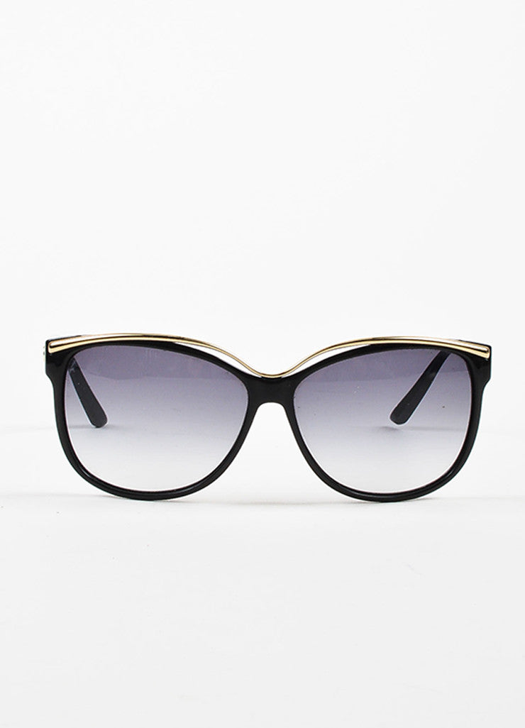 Black Gucci Gold Tone Gradient Lens Oversized Sunglasses Front 2