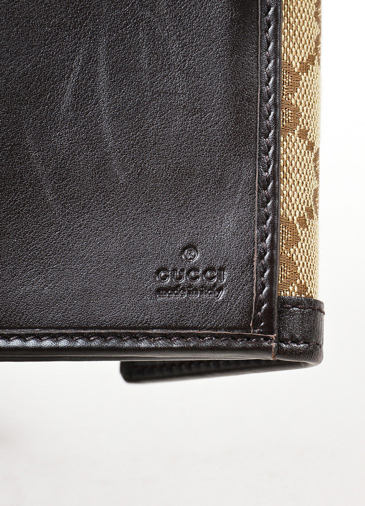 "Gucci Brown and Tan Canvas and Leather Monogram ""Interlocking G Continental"" Wallet Brand"