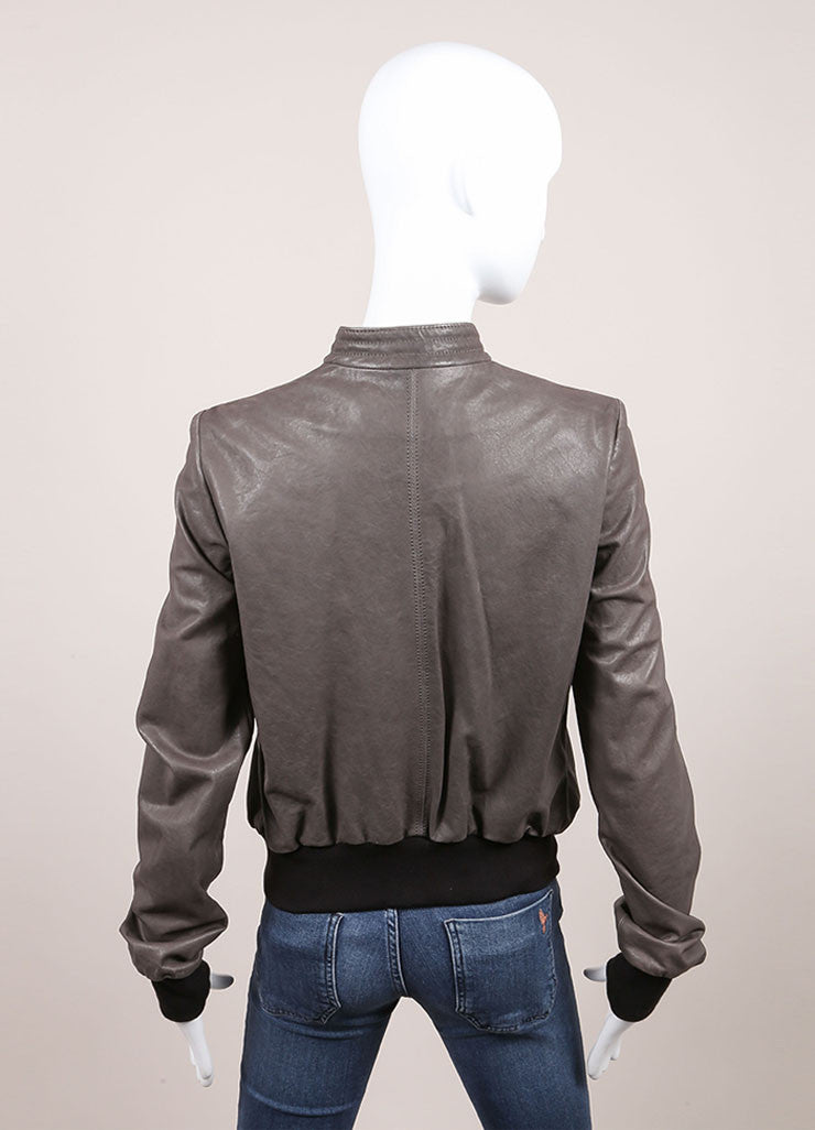 "Haider Ackermann New With Tags Grey and Black Knit Trim ""Athena"" Leather Jacket Backview"