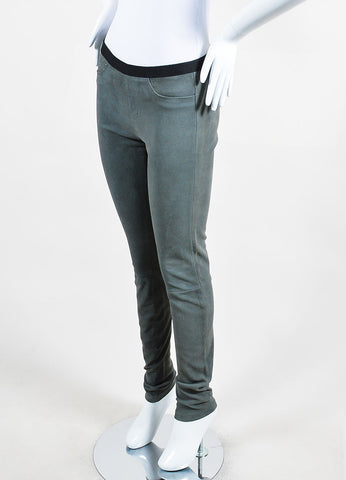 Helmut Lang Grey Textured Suede Legging Pants Sideview