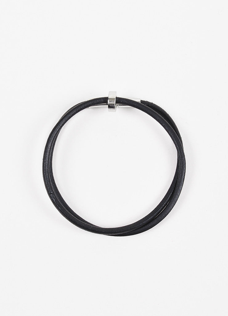 Hermes Black Leather Palladium Plated Double Wrap Bracelet Topview