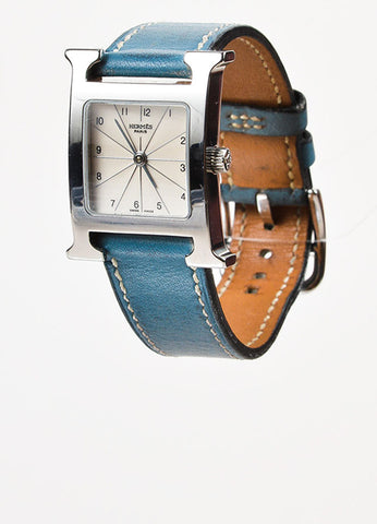 "Hermes Blue Jean Stainless Steel Leather Strap ""Heure H PM"" Wrist Watch Sideview"