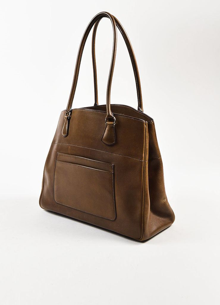 "Hermes Brown Box Calf Leather Top Handle Structured ""LA Tote"" Handbag Sideview"