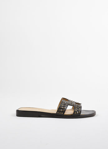 "Brown Hermes Studded ""H"" Strap ""Oran"" Flat Sandals Side"
