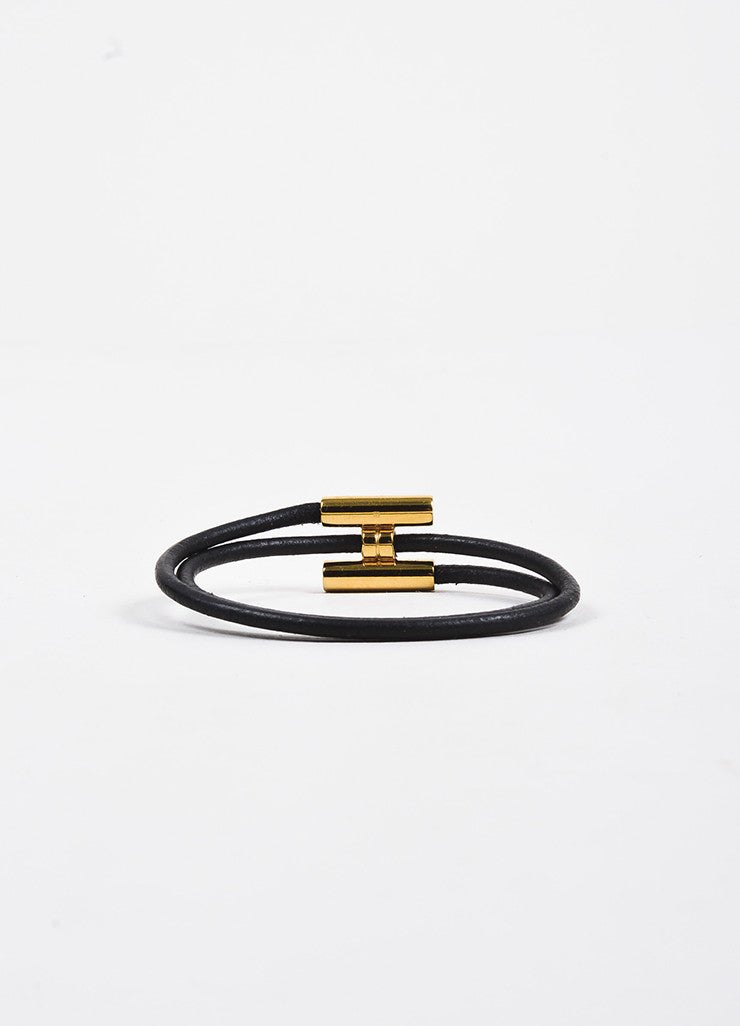 "Hermes Gold Toned and Black Leather ""H Logo"" Double Wrap Bracelet Backview"