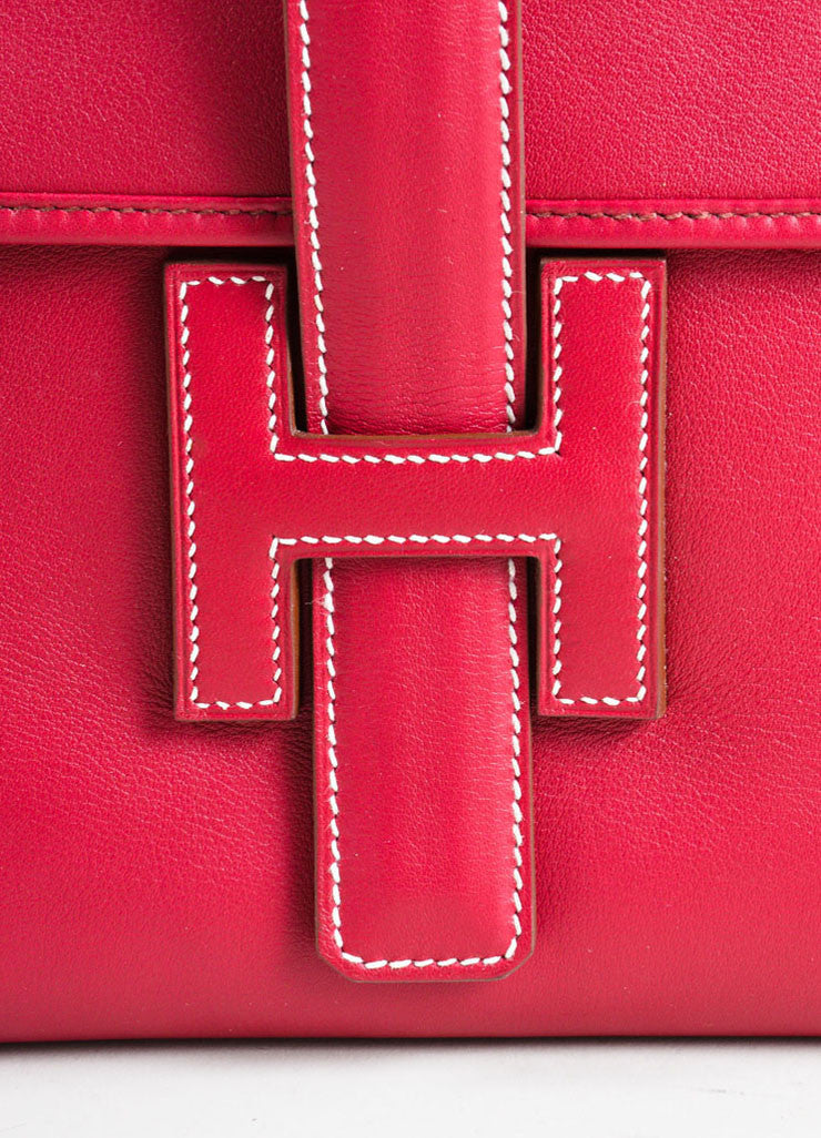 "Hermes Red ""Rouge"" Swift leather Toile Lined ""Jige PM"" Clutch Bag Detail 2"