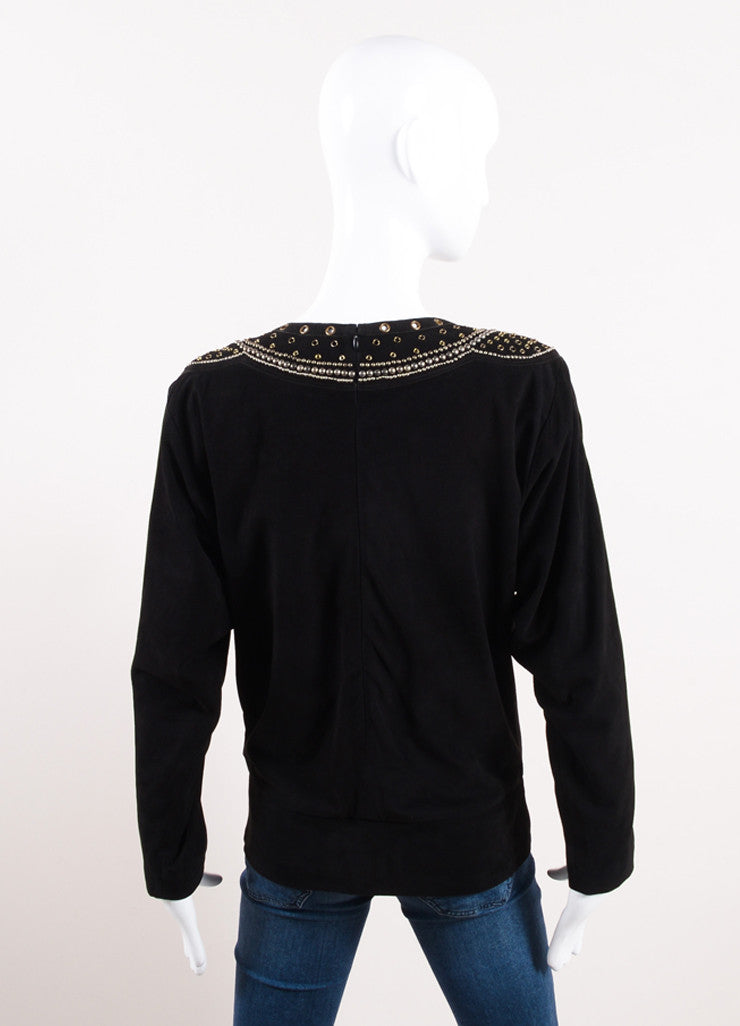 "Isabel Marant Black Suede Leather Studded ""Ostia"" Top Backview"