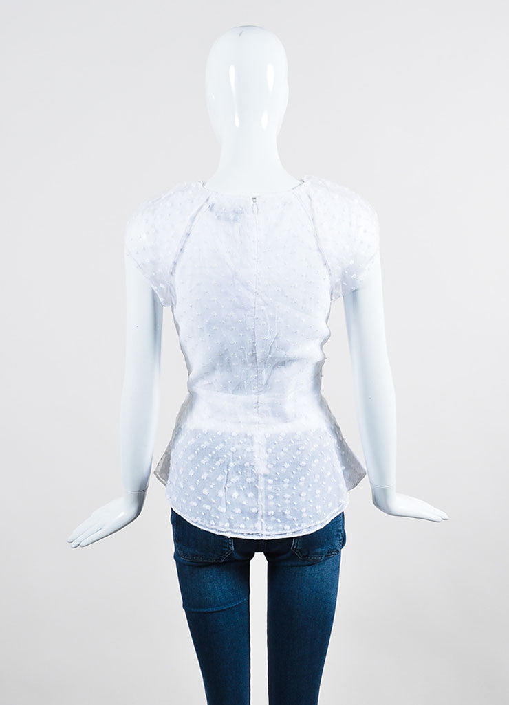 "White Isabel Marant Sheer Flower ""Vermer"" Short Sleeve Peplum Top Backview"