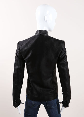 "J Brand Black Textured Cotton and Leather Trim ""Hilary"" Jacket Backview"