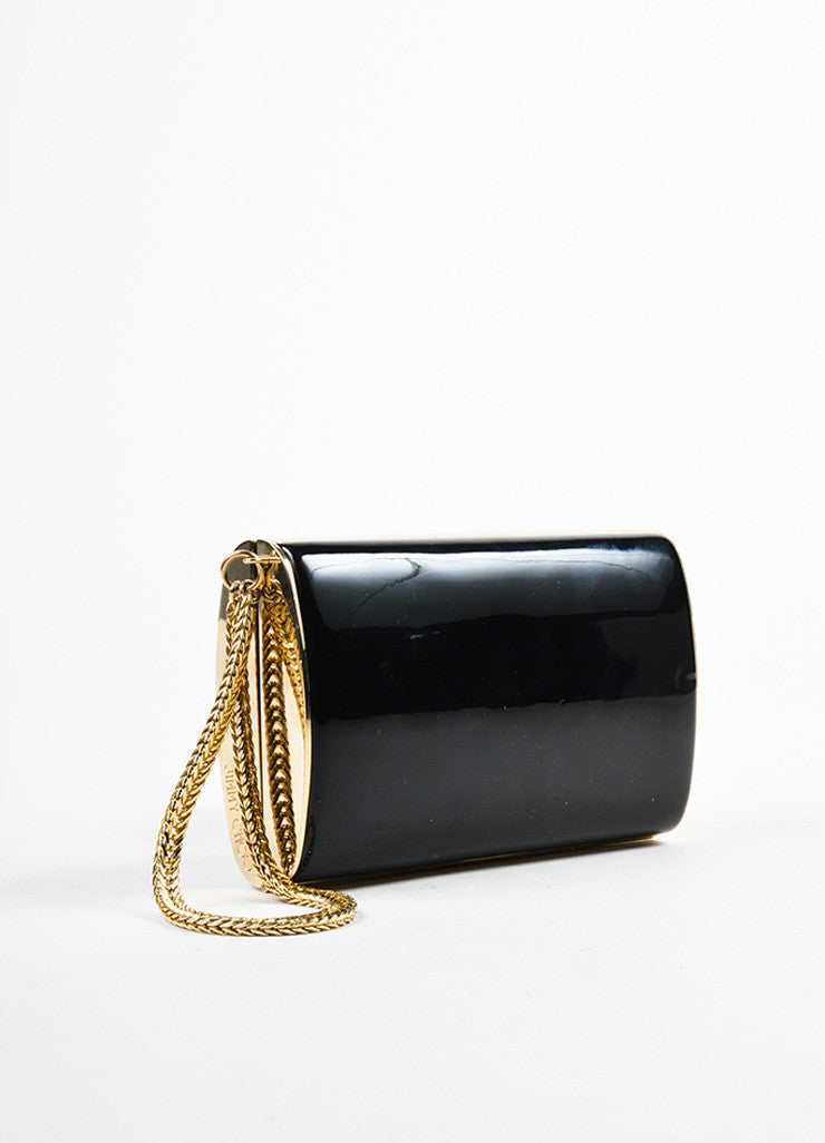 Jimmy Choo Black and Gold Toned Patent Leather Chain Strap Wristlet Clutch Bag Sideview