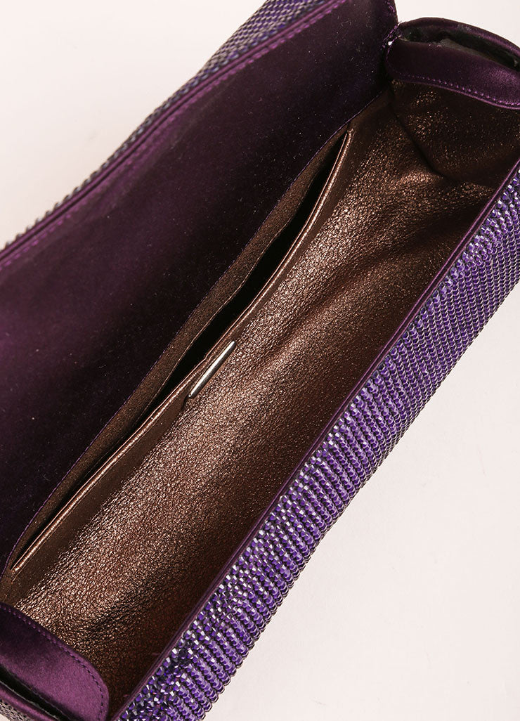 Judith Leiber Purple Crystal Rhinestone Barrel Clutch Bag Interior