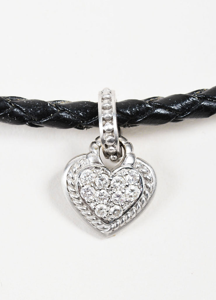 Judith Ripka Black Leather 18K White Gold Diamond Double Heart Pendant Necklace Detail