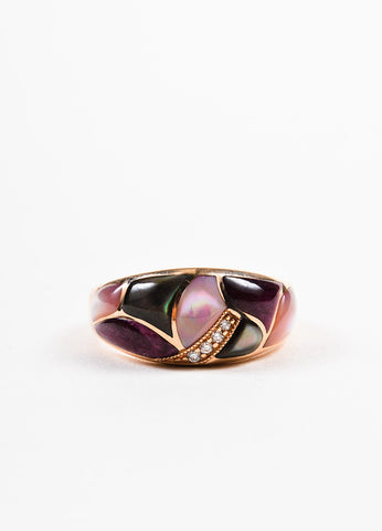 Kabana 14K Rose Gold Multicolor Mother of Pearl Diamond Mosaic Ring Frontview