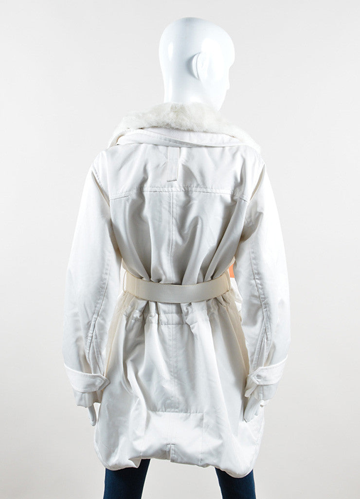 "Kaufmanfranco White Mink Collar Belted ""Tech Parka"" Coat Backview"