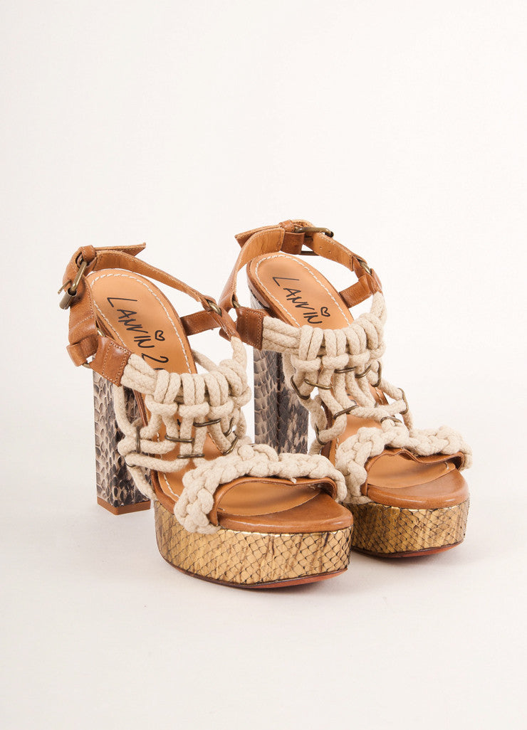 Lanvin 2012 Resort Brown and Bronze Snake Skin Rope Detail Platform Sandals Frontview
