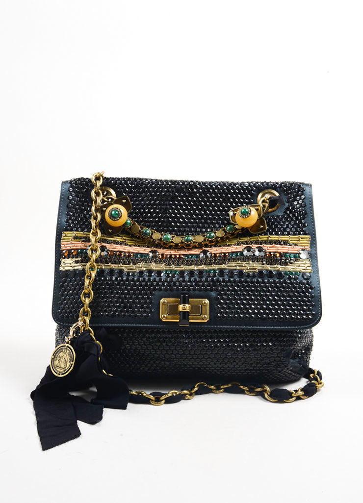 Lanvin Black Satin Sequin Beaded Ribbon Chain Strap Turnlock Satchel Bag Frontview